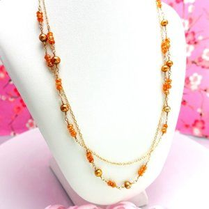 Peach rondelle gold pearl opera rosary necklace